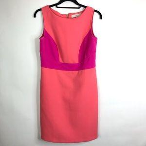 Loft Sleeveless colorblock Sheath Dress Coral Pink